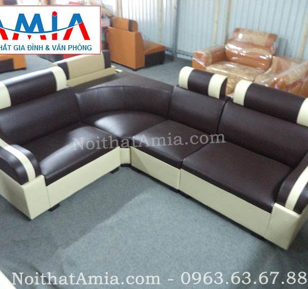 Hình ảnh cho mẫu sofa da góc giá rẻ màu đen hợp phòng khách chung cư
