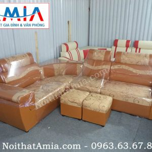Hình ảnh cho mẫu sản phẩm sofa da pha nỉ đẹp hiện đại cho không gian đẹp