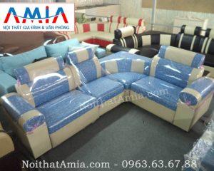 Hình ảnh cho mẫu sofa góc da pha nỉ đẹp hiện đại cho không gian phòng khách đẹp