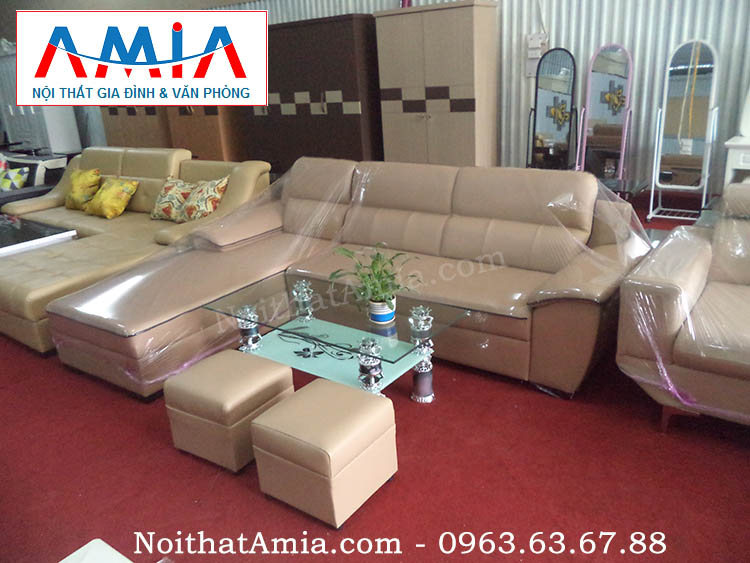 Hình ảnh cho bộ ghế sofa da phòng khách màu be kết hợp viền đen đẹp mê ly