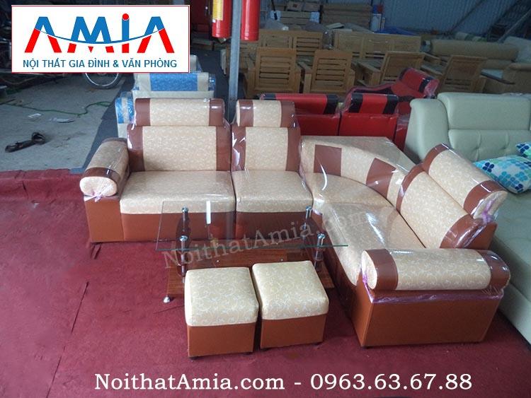 Hình ảnh mẫu sản phẩm sofa góc da màu cam họa tiết đẹp AmiA SFD064