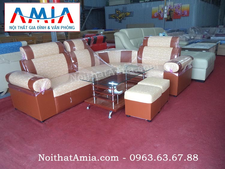 Hình ảnh cho mẫu sofa góc da giá rẻ màu cam họa tiết nhỏ xinh