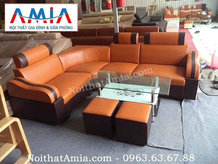 Hình ảnh cho mẫu sofa da góc giá rẻ cho phòng khách căn hộ chung cư