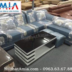 Hình ảnh cho sofa nỉ bộ góc màu xanh họa tiết hoa lá SFN068