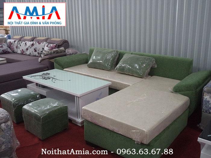 Hình ảnh cho mẫu sofa nỉ đẹp màu xanh rêu kết hợp bàn trà cao cấp sang trọng