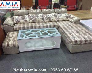 Hình ảnh cho mẫu sofa nỉ văng chữ L họa tiết kẻ sọc AmiA SFN069