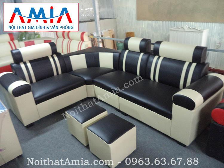 Hình ảnh cho mẫu sofa da góc giá rẻ màu đen AmiA SFD076 đẹp hiện đại cho không gian phòng khách gia đình