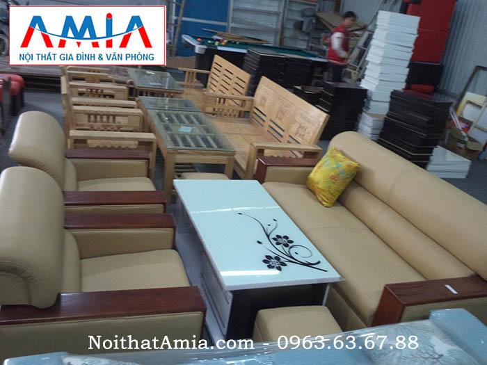 Hình ảnh cho bộ sofa phòng làm việc viền tay gỗ sồi vừa hiện đại, vừa sang trọng lại đẳng cấp và lịch sự