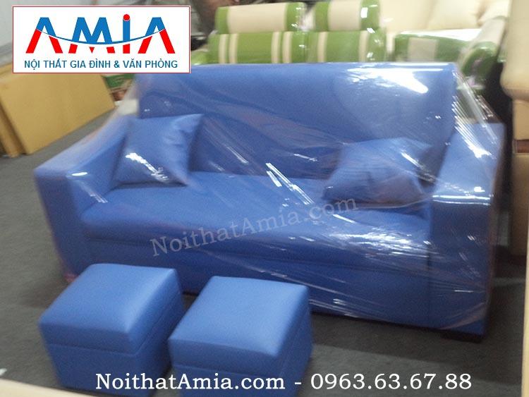 Hình ảnh đại diện Sofa văng da 1m8 màu xanh da trời SFV059
