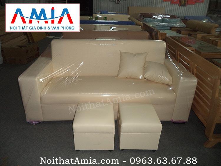 Hình ảnh cho mẫu sofa văng da màu be đẹp hiện đại cho không gian phòng khách