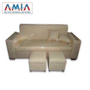 Hình ảnh cho mẫu sofa văng da màu be SFV058 đẹp hiện đại cho không gian phòng khách