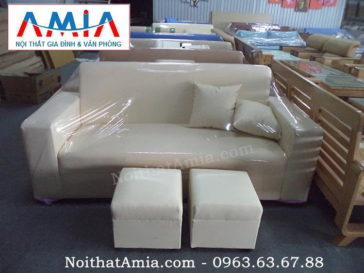 Hình ảnh cho mẫu sofa văng da màu trắng đẹp hiện đại tại Nội thất AmiA