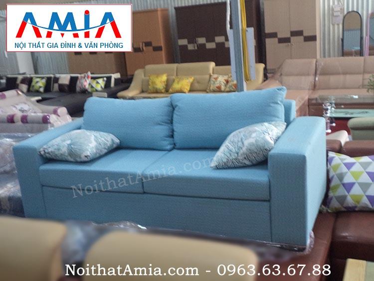 Hình ảnh cho mẫu sản phẩm sofa văng vải nỉ màu xanh da trời AmiA SFV055