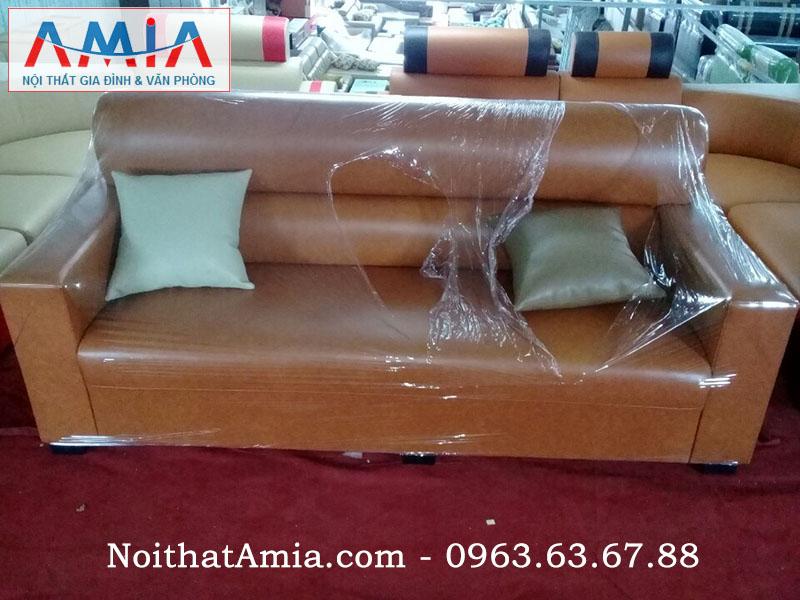 Hình ảnh mẫu ghế sofa văng da màu nâu đất mang vẻ đẹp độc đáo và hiện đại cho không gian phòng khách gia đình bạn