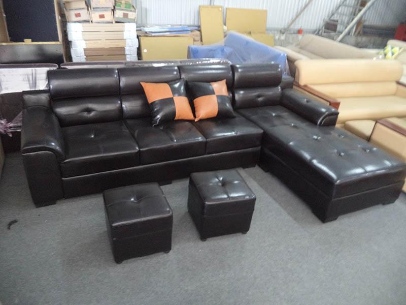 Hình ảnh cho mẫu sản phẩm sofa da màu đen bộ góc chữ L sang trọng SFD081