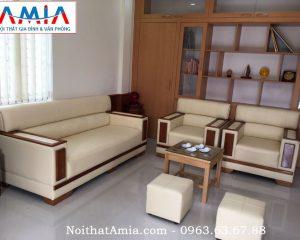 Hình ảnh cho mẫu sofa da phòng làm việc khung gỗ Sồi AmiA SFD085