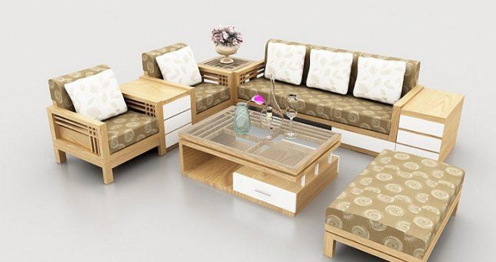Hình ảnh cho mẫu bàn ghế sofa gỗ phòng khách được tích hợp nệm mút hiện đại