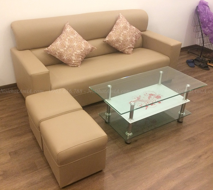 Hình ảnh Sofa văng da đẹp hiện đại kết hợp bàn trà kính đẹp AmiA SFD088