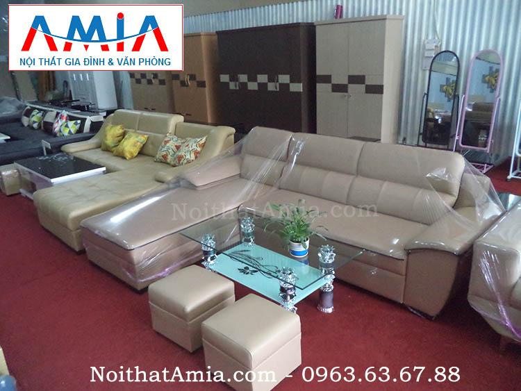 Hình ảnh cho bộ ghế sofa phòng khách nhỏ với chất liệu da hiện đại