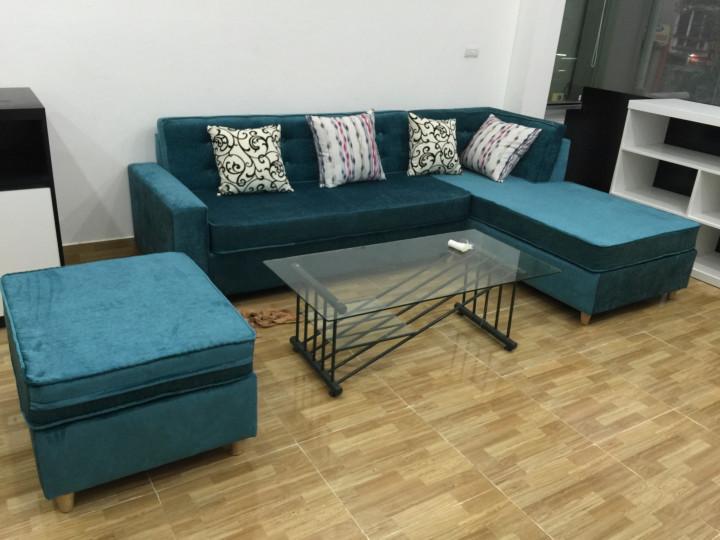 Hình ảnh cho mẫu sofa góc chữ L màu xanh rêu đậm đẹp hiện đại và sang trọng