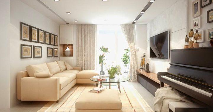 Hình ảnh cho mẫu sofa phòng khách nhỏ giá rẻ với gam màu sáng làm hài hòa không gian căn phòng