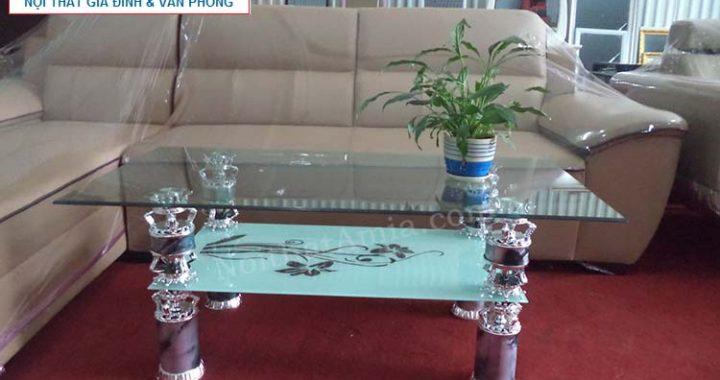 Hình ảnh cho mẫu bàn trà kính 2 tầng đẹp hiện đại với chất liệu kính cường lực bền bỉ và chất lượng