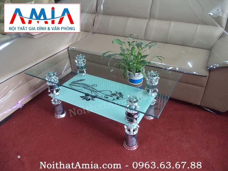 Hình ảnh cho mẫu bàn trà kính giá rẻ Hà Nội kết hợp cùng bộ ghế sofa da đẹp hiện đại