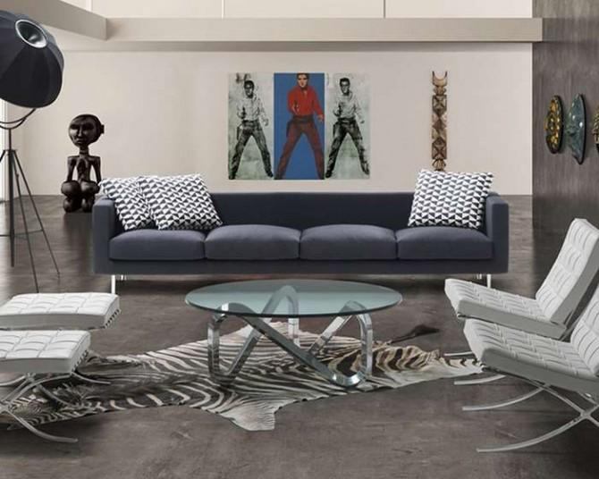 Hình ảnh cho bàn trà kính tròn, bàn trà mặt kính tròn được sắp xếp và bài trí trong căn phòng khách rộng rãi