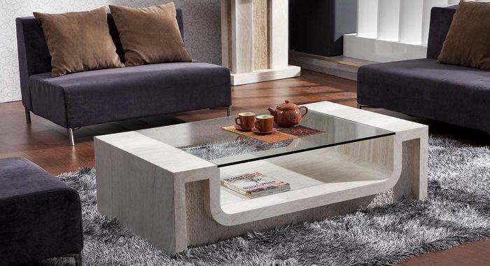 Hình ảnh cho mẫu bàn trà kính cường lực đẹp hiện đại kết hợp cùng bộ ghế sofa phòng khách