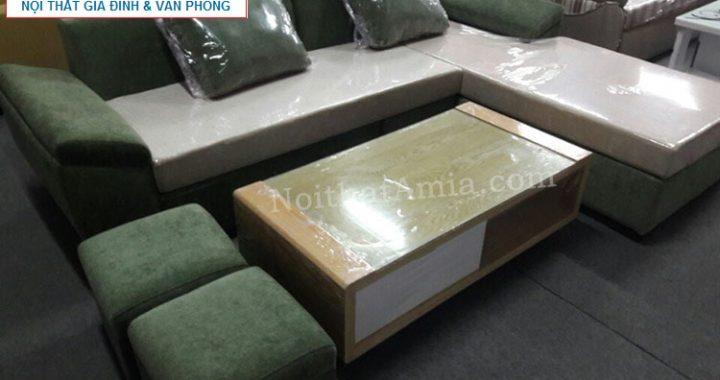 Hình ảnh cho mẫu bàn trà gỗ kết hợp mặt kính đẹp cho không gian phòng khách