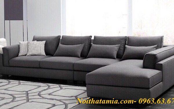 Hình ảnh cho mẫu ghế sofa nỉ góc chữ L đẹp hiện đại với gam màu ghi đậm