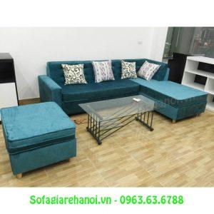Hình ảnh ghế sofa nỉ nhung hình chữ L được đặt làm theo yêu cầu tại Tổng kho Nội thất AmiA