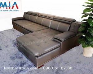 Hình ảnh cho mẫu ghế sofa da góc chữ L được thiết kế rút khuy cùng gam màu đen hiện đại, sang trọng