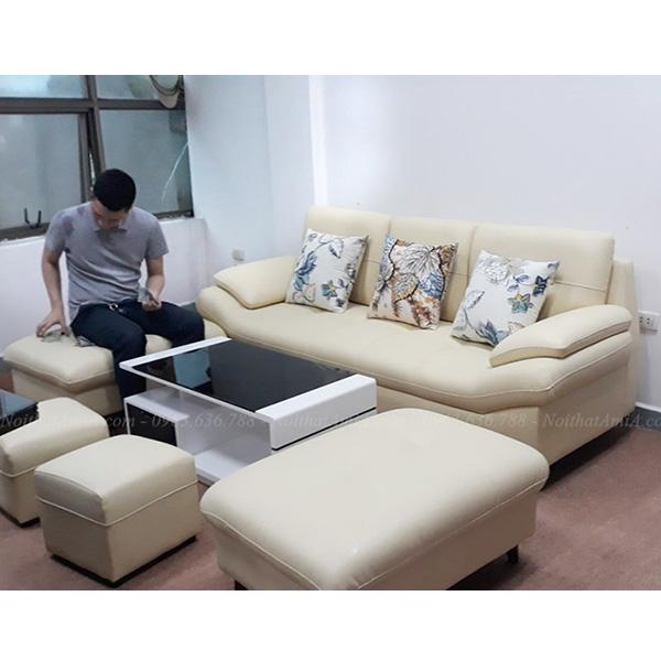 Ghế Sofa Văng Da 3 Chỗ Màu Trắng Sữa đẹp Hiện đại Amia Sfd099