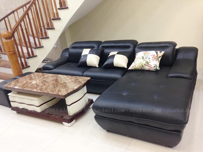 Hình ảnh Bộ ghế sofa đẹp da chữ L màu đen sang trọng