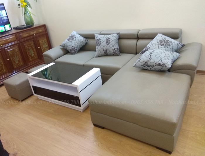 Hình ảnh Bộ ghế sofa đẹp da góc chữ L hiện đại và sang trọng
