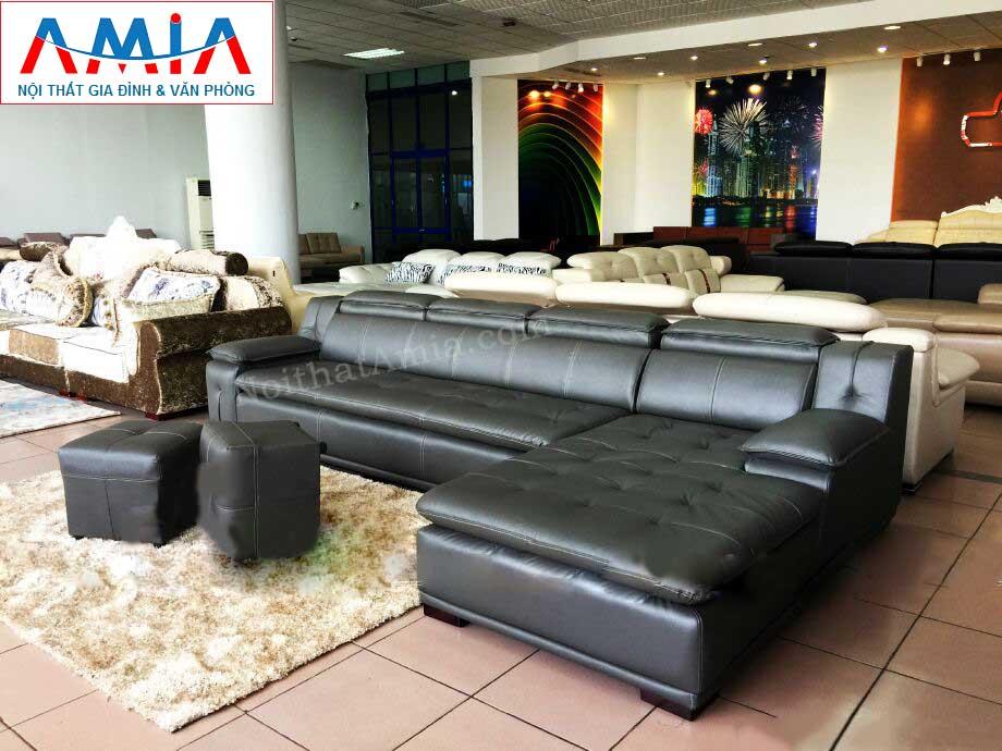 Hình ảnh cho mẫu ghế sofa da góc chữ L rút khuy màu đen đẹp hiện đại cho không gian căn phòng đẹp
