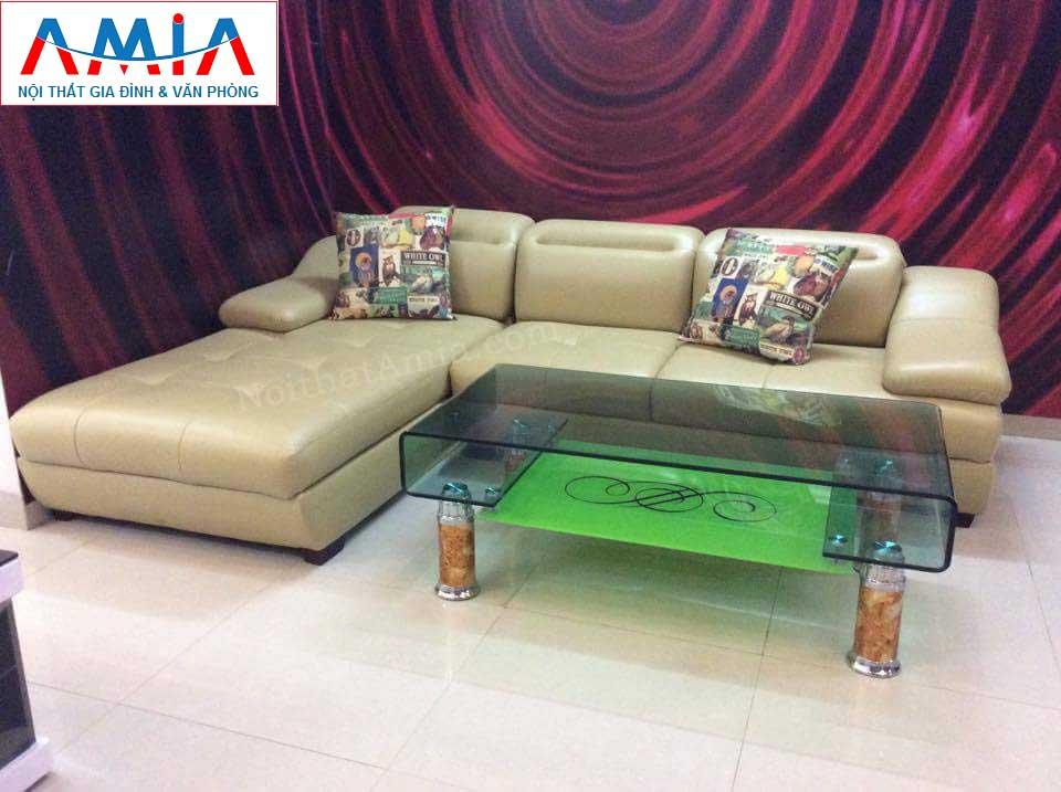 Hình ảnh cho mẫu ghế sofa da góc chữ L với gam màu kem hiện đại , trẻ trung