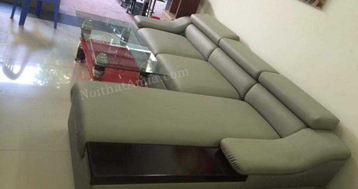 Hình ảnh cho mẫu ghế sofa da góc chữ L tay vịn gỗ AmiA SFD098 đẹp hiện đại
