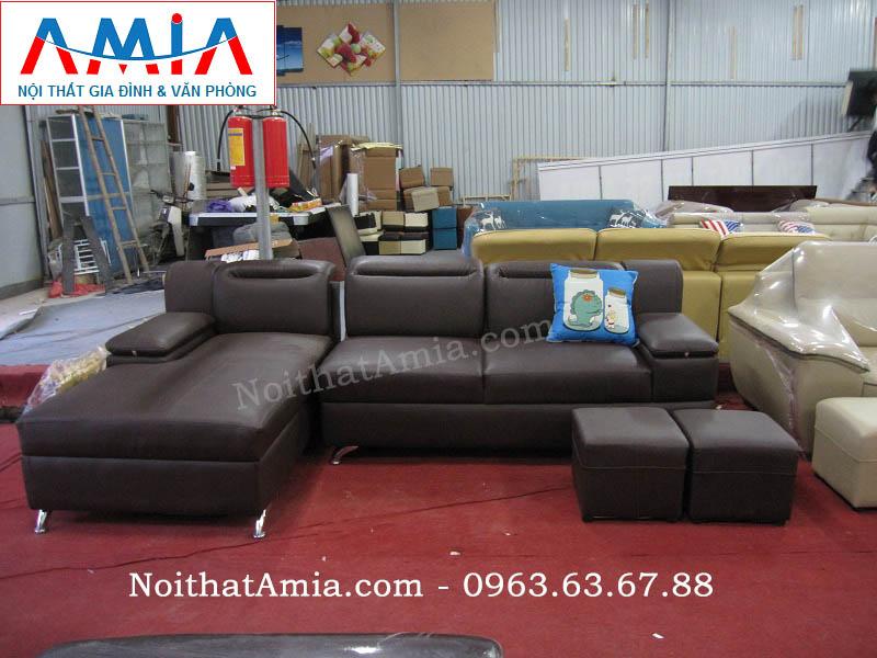 Hình ảnh cho sofa da góc chữ L 3 chỗ đẹp hoàn hảo