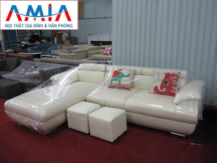 Hình ảnh cho ghế sofa da góc chữ L đẹp màu trắng hiện đại và trẻ trung