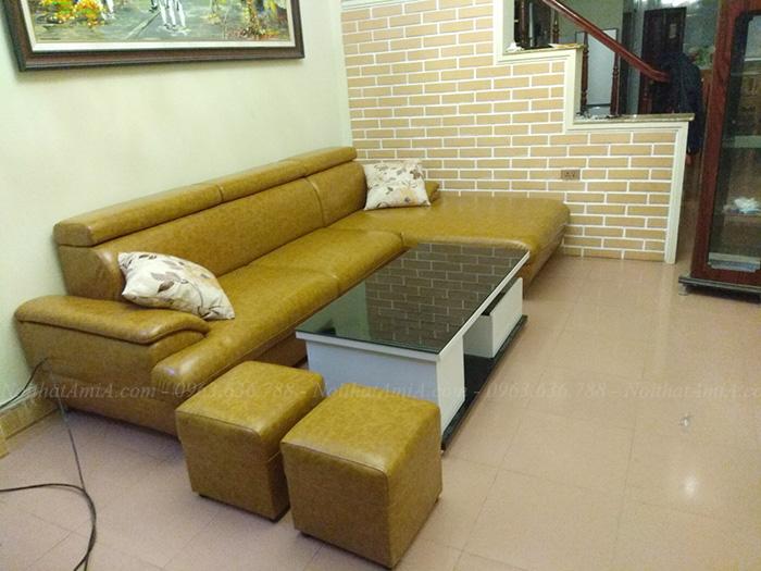 Hình ảnh Ghế sofa đẹp da góc chữ L với gam màu vàng chanh đẹp mắt