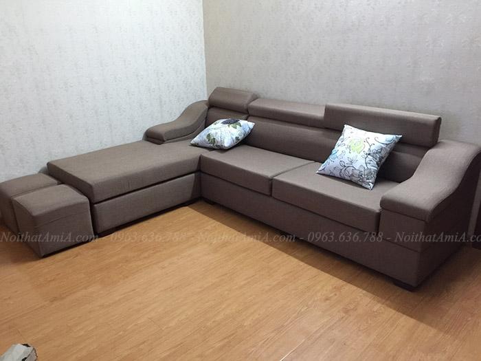 Hình ảnh Mẫu ghế sofa nỉ chữ l đẹp cho phòng khách gia đình