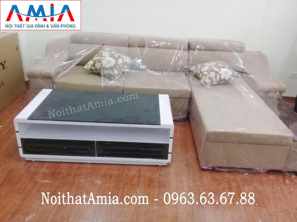 Hình ảnh cho mẫu ghế sofa nỉ góc chữ L đẹp Hà Nội với thiết kế hiện đại, sang trọng