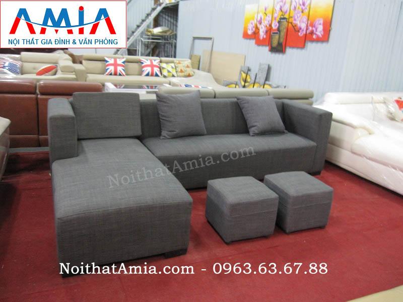 Hình ảnh cho bộ ghế sofa nỉ góc chữ L đẹp hiện đại với thiết kế nhỏ gọn , xinh xắn