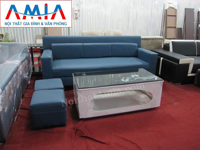 Bộ sản phẩm ghế sofa văng da màu xanh cho không gian căn phòng khách nhỏ