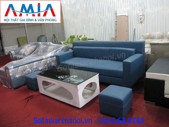 Hình ảnh cho mẫu ghế sofa văng da Hàn Quốc màu xanh đẹp hiện đại