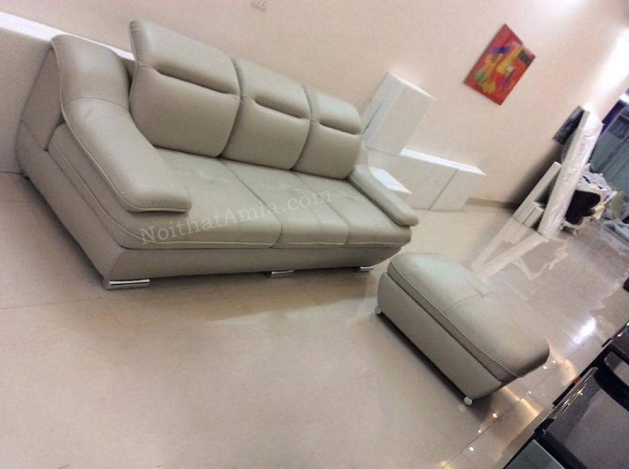 Hình ảnh cho mẫu ghế sofa văng da 3 chỗ với gam màu trắng sữa đẹp hiện đại