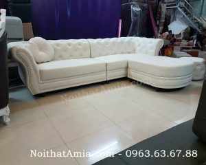 Hình ảnh cho mẫu ghế sofa văng da đẹp hiện đại, sang trọng kết hợp đôn ghế rời di động
