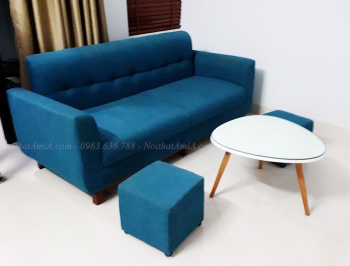 Hình ảnh Ghế sofa văng nỉ đẹp kết hợp bàn trà độc đáo
